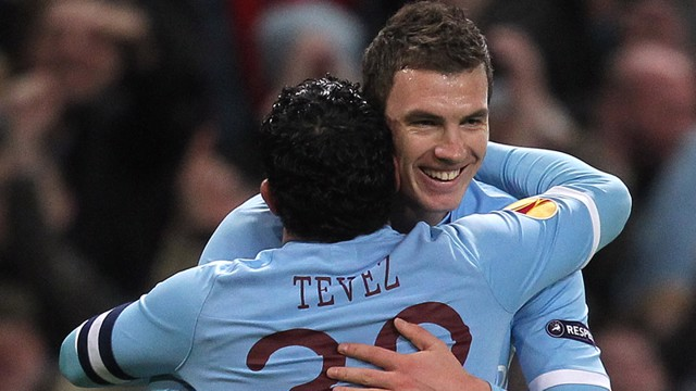 Tevez and Edin Celebrate