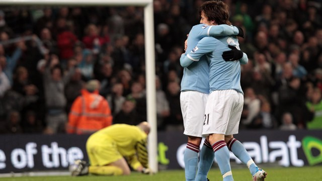 Tevez and Silva Celebrate with goal hug Villa