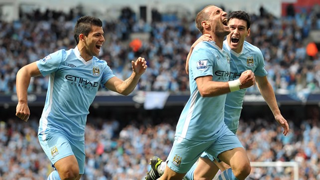 WHAT A DAY: Pablo Zabaleta celebrates scoring in the famous game against QPR in 2012