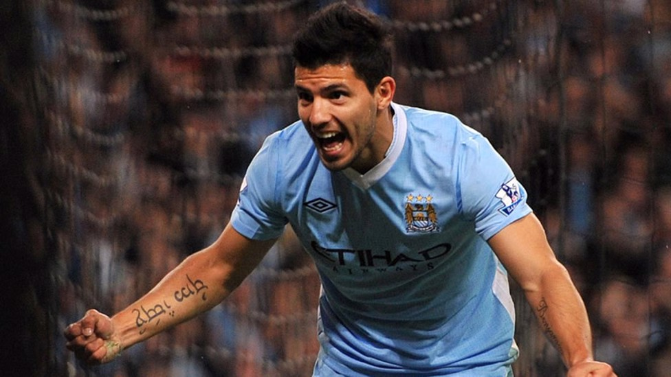 DEBUT DELIGHT: Sergio Aguero announces himself to the City faithful with two goals as the Blues beat Swansea 4-0 in 2011.