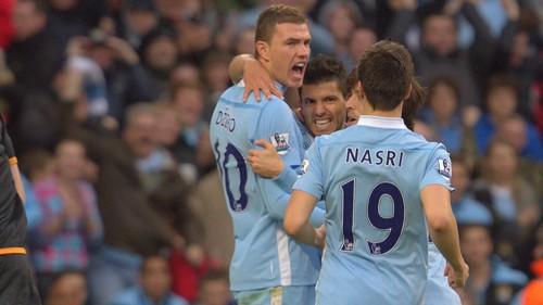 Dzeko Sergio and Nasri Celebrate