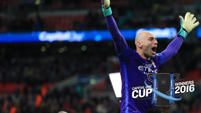 Willy Caballero celebrates with fans