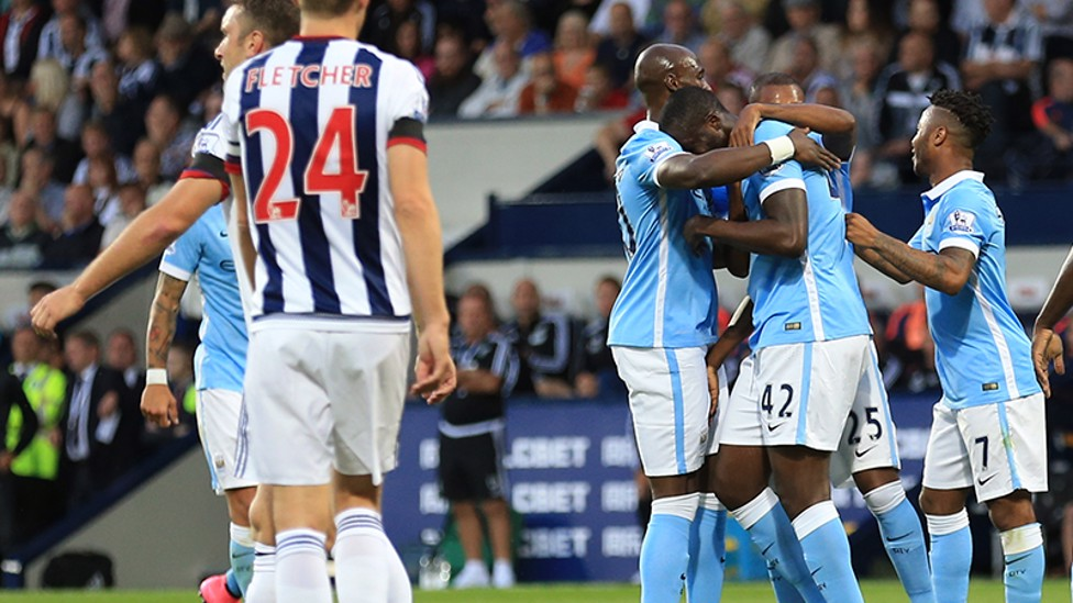 THREE CHEERS: Yaya Toure netted a fine strike as City won 3-0 against the Baggies on the opening day last season.