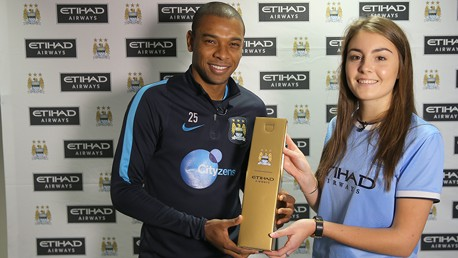 Etihad Player of the Month: Fernandinho presented with award