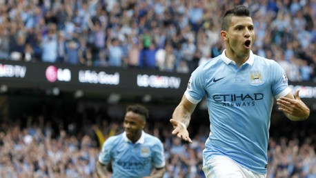 Sergio Aguero celebrates scoring against Chelsea