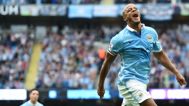 Vincent Kompany celebrates his goal against Chelsea