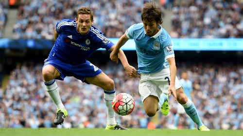 Silva in action against Chelsea