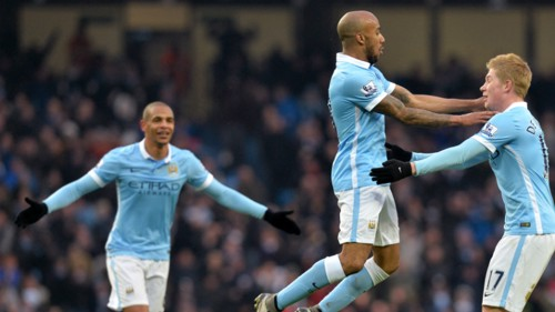 Fabian Delph and Kevin De Bruyne celebrate the opening goal against Crystal Palace