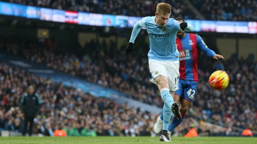 Kevin De Bruyne shoots against Crystal Palace