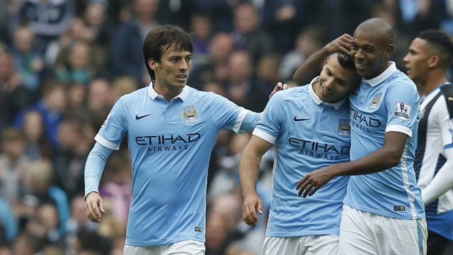 David Silva, Sergio Aguero and Fernandinho