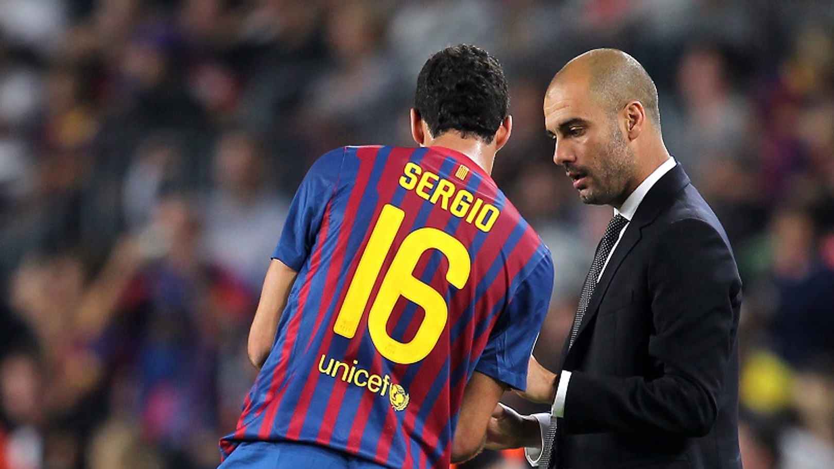 TALKING TACTICS: Pep delivers orders on the touchline