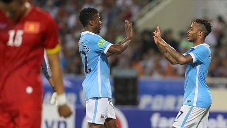 Raheem Sterling celebrates goal against Vietnam
