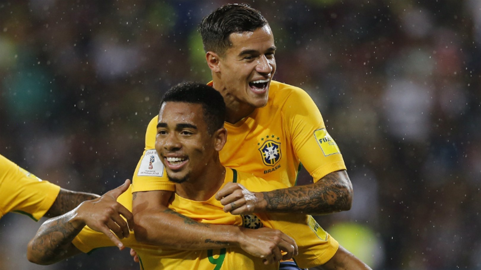 ON TARGET: Gabriel Jesus is congratulated by Philippe Coutinho