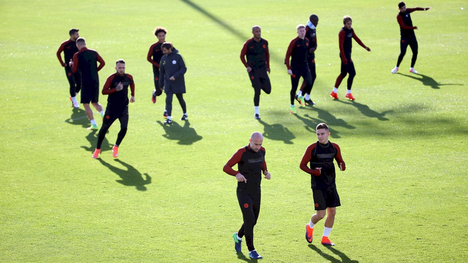 WARM UP: The lads get ready for today's session.