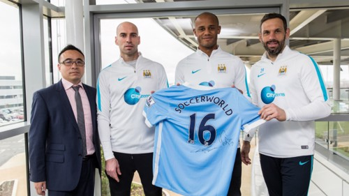 Seal of approval: Vincent Kompany, Willy Caballero and Richard Wright attended the signing ceremony at CFA.
