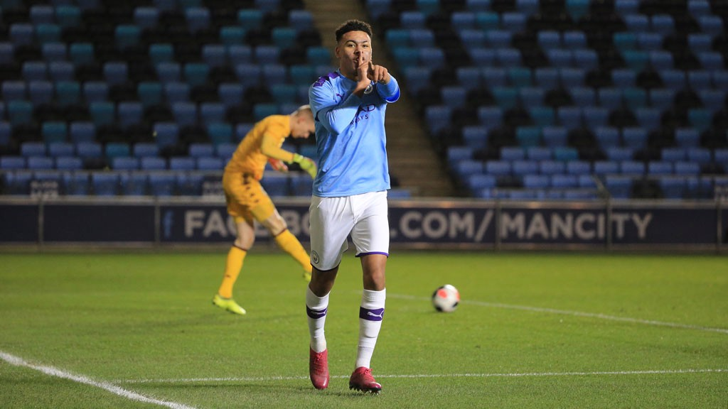 DOUBLE DELIGHT: Morgan Rogers is all smiles after putting City 2-0 ahead