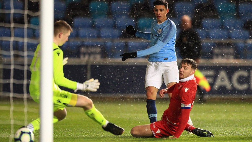 ON TARGET: Nabil Touaizi fires home during City's FA Youth Cup fourth round win over Nottingham Forest