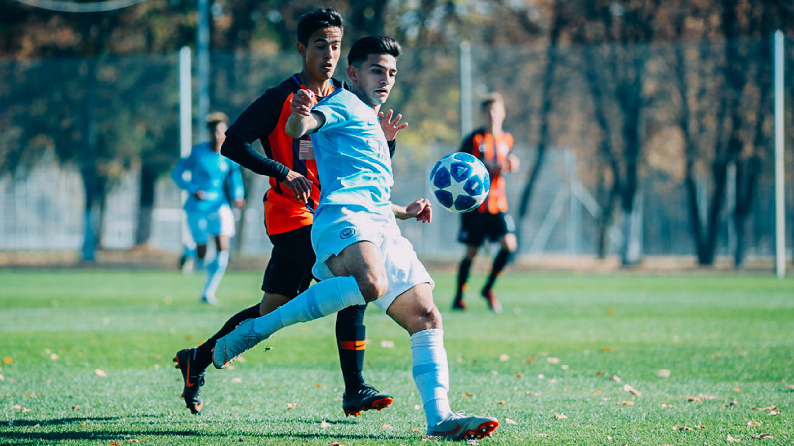 EYES ON THE BALL: Nabil Touaizi holds off his marker