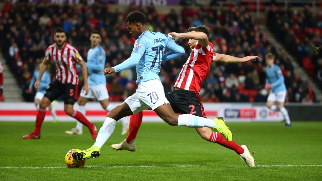 BATTLE: The young Blues take on Sunderland at the Stadium of Light.