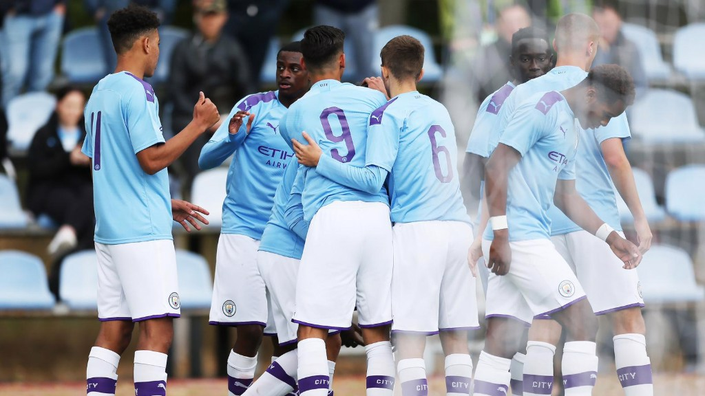 BOYS IN BLUE: City celebrate our opening goal away at Shakhtar