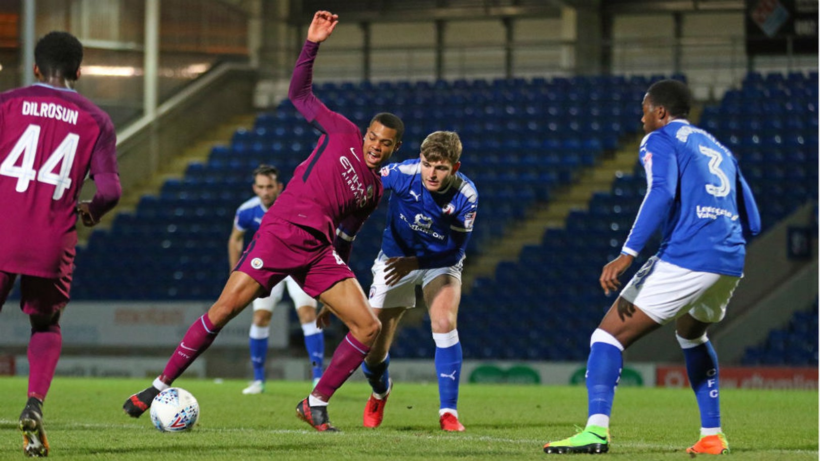 ATTACK: Lukas Nmecha battles a defender against Chesterfield.