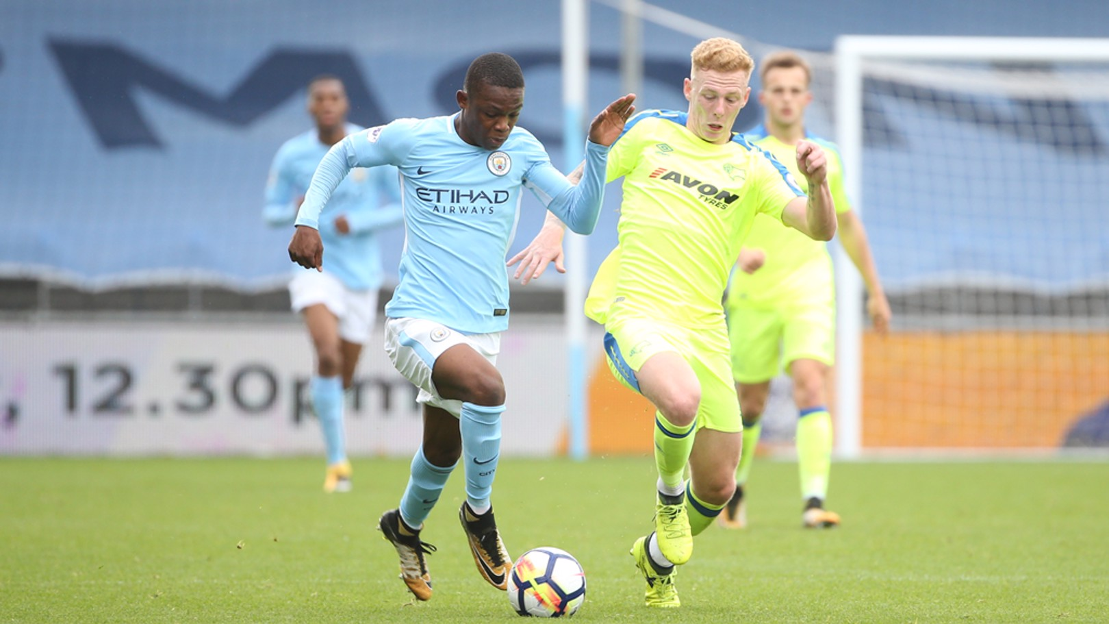 FULL FLIGHT: Rabbi Matondo on the move against Derby County.