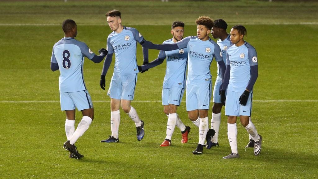 OPENER: Jadon Sancho celebrates breaking the deadlock against Tottenham