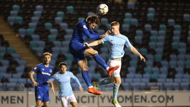 AIR SHOT: Jacob Davenport in action against Everton