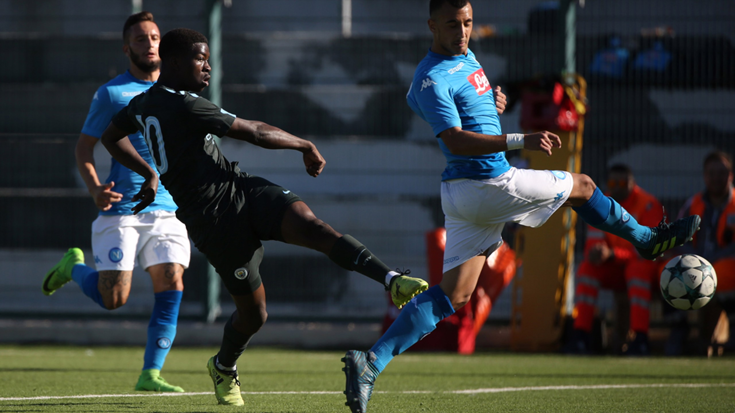 VOLLEY: Taylor Richards strikes against Napoli.