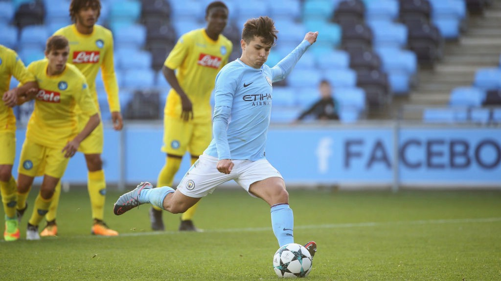 FROM THE SPOT: Brahim was on target from the penalty spot against Napoli.