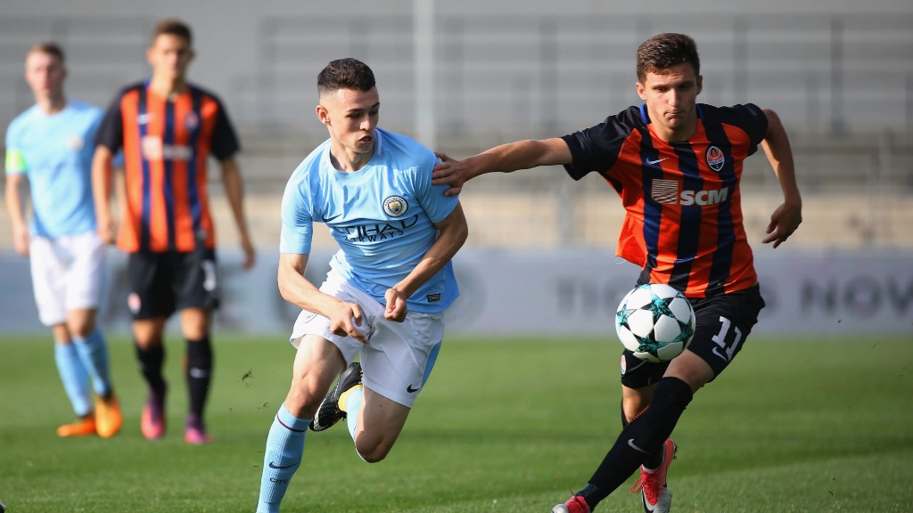 ON TARGET: Phil Foden scored against Shakhtar.