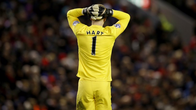 HART BREAKER: Joe reacts at Anfield