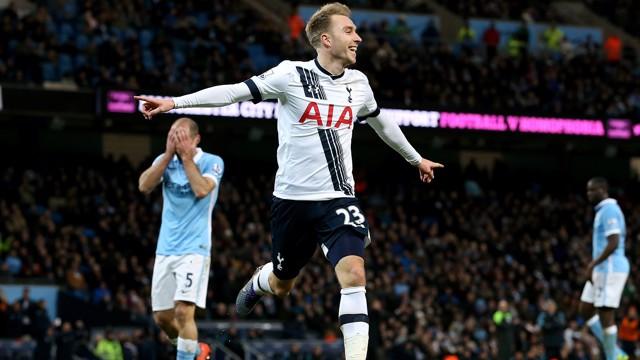 DECISIVE MOMENT: Christian Eriksen celebrates as Pablo Zabaleta holds his head