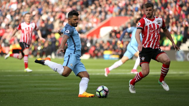 LOOKING SHARP: Aguero had chances early in the first half.