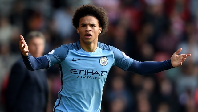 APPEAL: Leroy Sane questions the decision from the linesman.