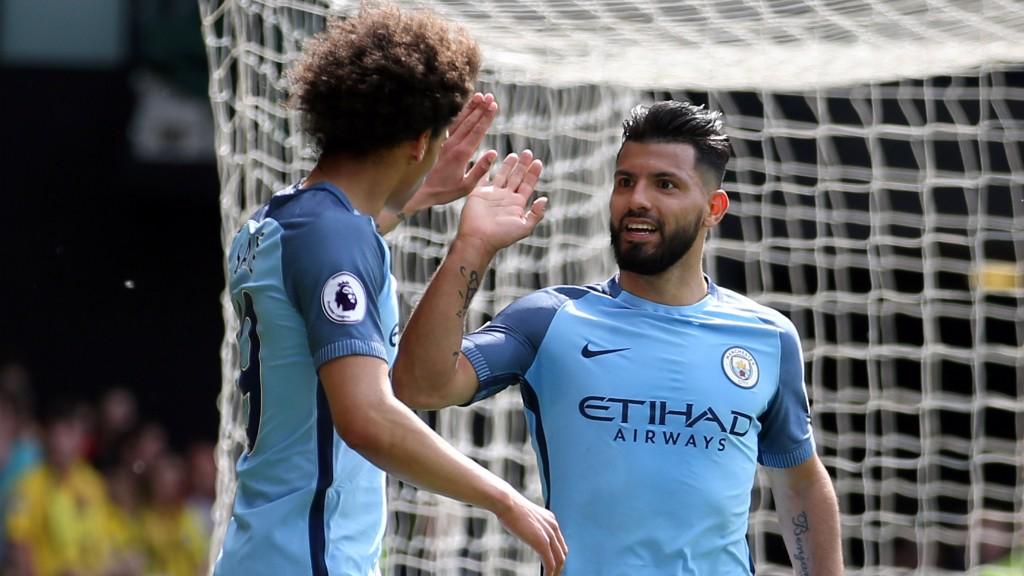 WHAT A MOVE: Aguero and Sane celebrate wrapping up a wonderful team goal for City's third.