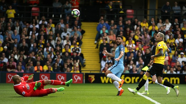 GOMES DENIES: Aguero sees his close-range effort saved by the Watford keeper.