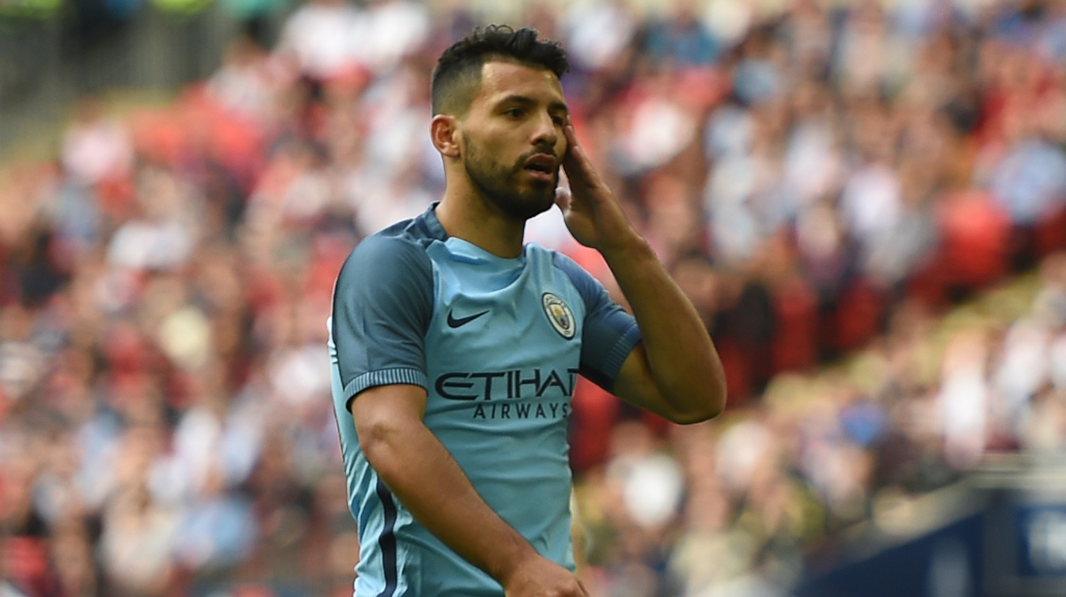 CLOSE: Aguero rues a missed chance.