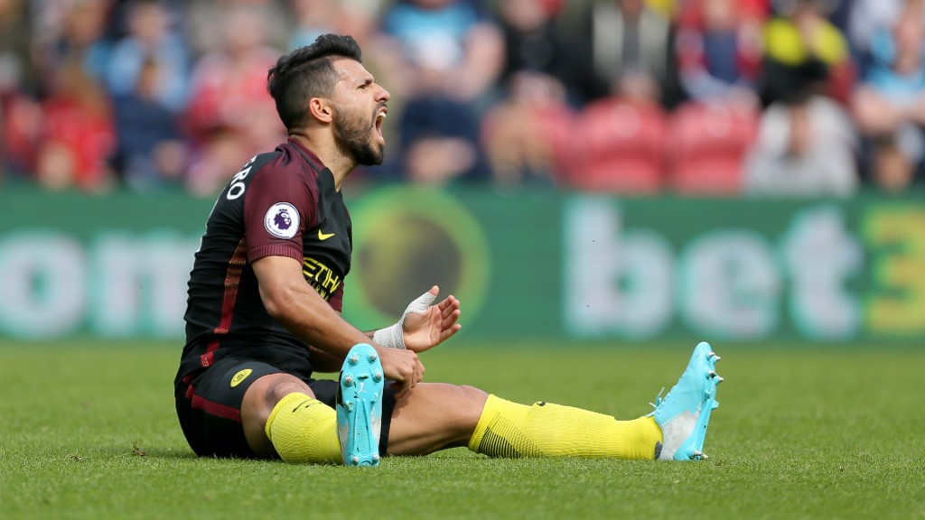FRUSTRATION: Aguero reacts to a decision going against him.