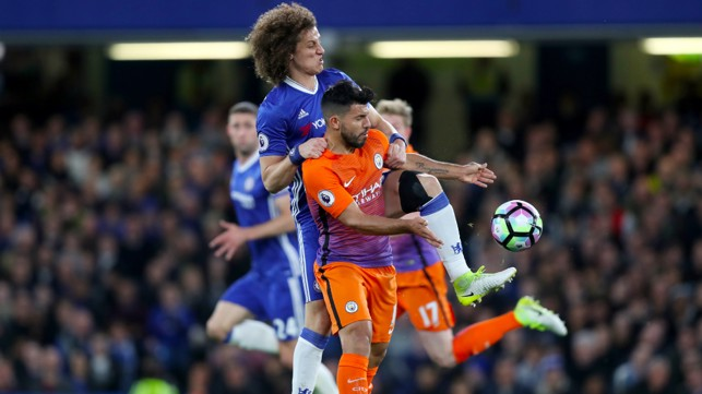 STERN TEST: Aguero was up against Luiz throughout the game.