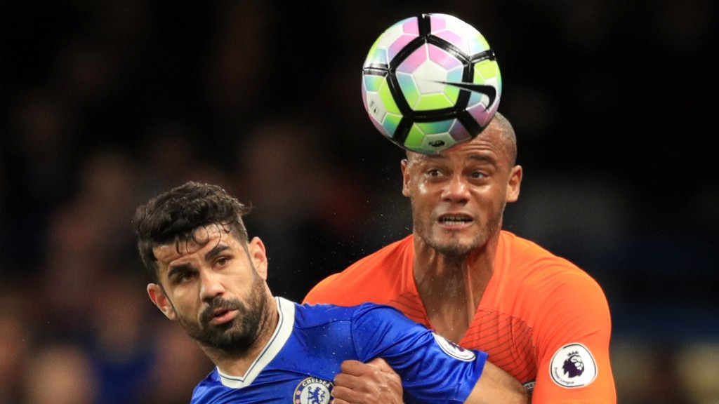 BACK IN THE GAME: Vincent Kompany battles with Diego Costa
