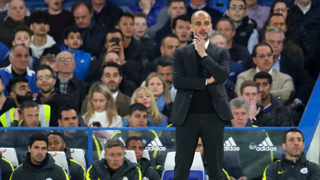 WATCHING ON: Pep on the touchline at Stamford Bridge
