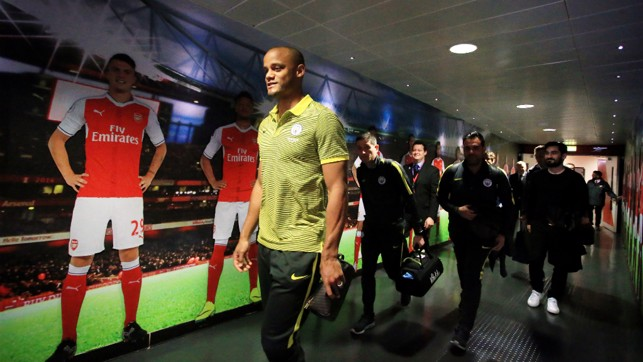 FOCUSED: Skipper Vincent Kompany leads his team-mates into the dressing room.
