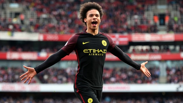 DELIGHT: Sane gets City off to the perfect start at the Emirates