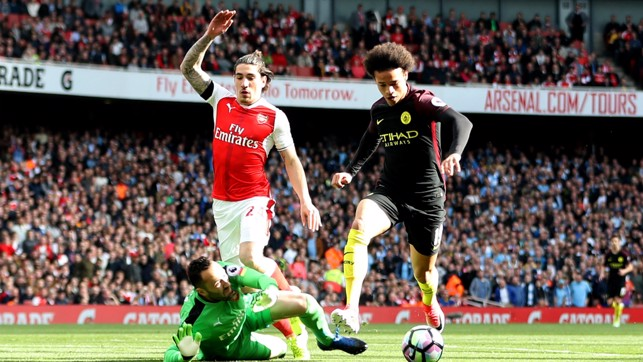 COMPOSURE: Sane showed a cool head to round Ospina