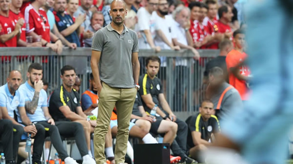 THE BOSS: Pep in the away dugout this time.