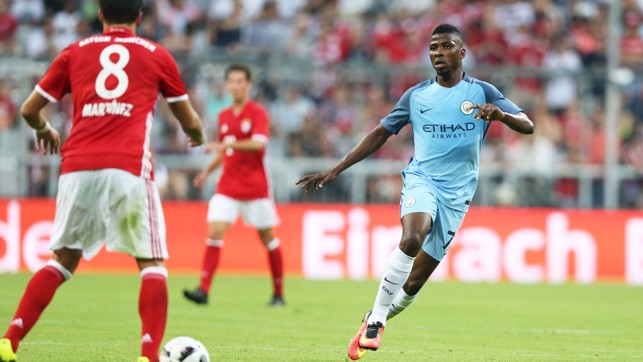 THE KID: Kelechi went close with a long range hit.