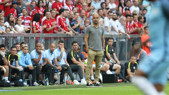 FAMILIAR SURROUNDS: Pep back at Bayern for his first game in charge of City.