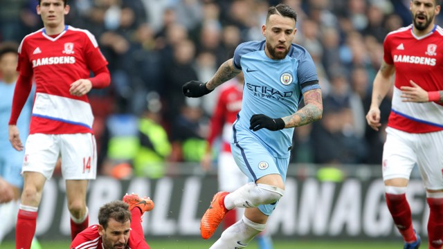 ROCK AT THE BACK: Nicolas Otamendi put in another good performance as City kept a clean sheet at the Riverside Stadium.