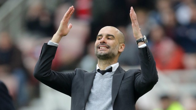 CLOSE:Pep reacts as City come close to scoring.
